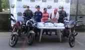 51 kilos de base de coca eran transportados camuflados en las llantas de tres motocicletas