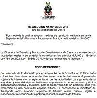 Vía Villanueva -Tauramena - Maní tendrá restricción el fin de semana