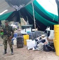 Destruido cristalizadero para el procesamiento de alcaloides en Orocué