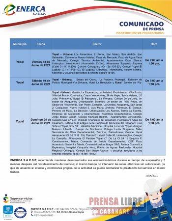 Mantenimientos de redes eléctricas programados por Enerca del 14 al 20 de junio - Noticias de Colombia
