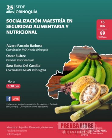 Maestría en seguridad alimentaria y nutricional en la Universidad Nacional sede Orinoquía - Noticias de Colombia