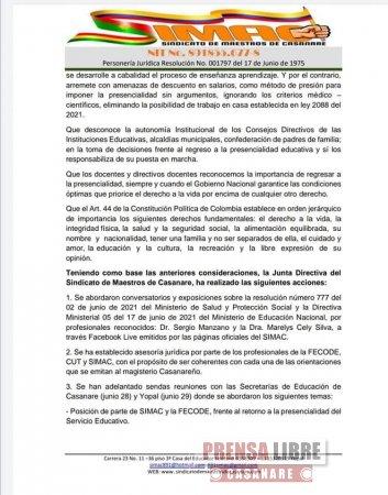 Sindicato de maestros de Casanare califica como exabrupto retorno a clases presenciales - Noticias de Colombia