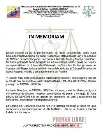Falleció Juez Penal Municipal de Yopal, Juan Manuel Mejía Estupiñán - Noticias de Colombia
