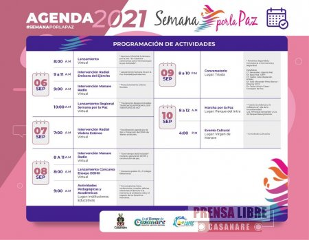 Actividades de conmemoración de la Semana por la Paz en Casanare - Noticias de Colombia